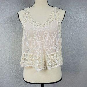 Pins & Needles crochet lace semi sheer crop top